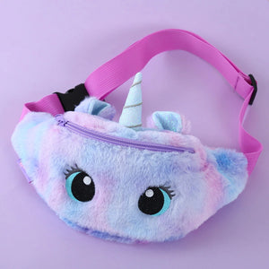 Gradient Plush Unicorn Waist Belt Bag for Kids