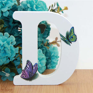 A-Z White Wooden Letter Word With Butterfly Decoration - A-Z White Wooden Letter Word With Butterfly Decoration