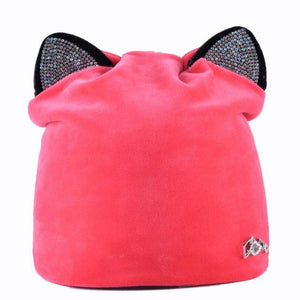 Beanie Cute Bejeweled Cat Ears Beanie - Cute Bejeweled Cat Ears Beanie