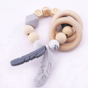 Silicone Feather with Wooden Beads Teether Bracelets