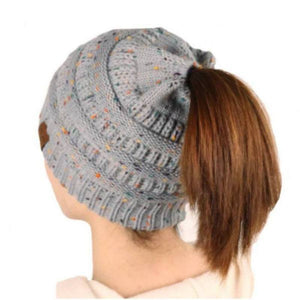 Ponytail Messy Bun Beanie Knitted Winter Hat - BNB Heaven Beanietail-TrendyVibes.CO