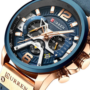 Casual Leather Waterproof Chronograph For Men Sport Quartz Watch - Casual Waterproof Chronograph Quartz Watch For Men