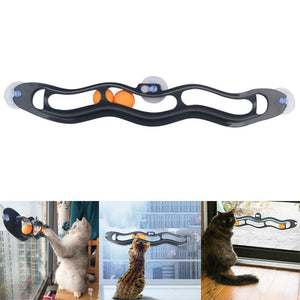 Cat Funny Window Toy Track Tunnel Play Pipe With Balls - Funny Window Play Pipe Toy Track With Balls For Cats