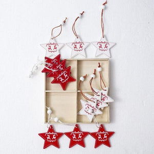 Set of 12 Christmas Tree Wooden-Crafted Ornaments-TrendyVibes.CO