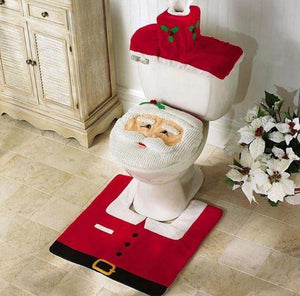 Fancy Christmas Bathroom Seat and Rug Set-TrendyVibes.CO