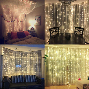 Christmas LED Lights Garland Curtain Decoration - LED String Curtain Lights For All Year Room Decoration