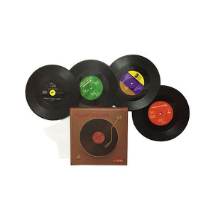 Creative Black CD Retro Vinyl Coffee Mug Placemats - Retro And Vintage Vinyl Record Mug And Glass Coasters
