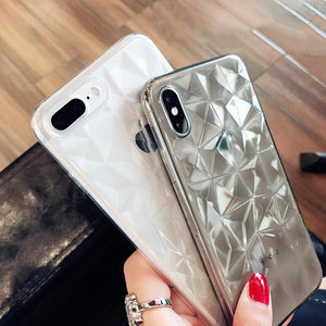 Diamond Textured Transparent Soft Case for Iphone-TrendyVibes.CO