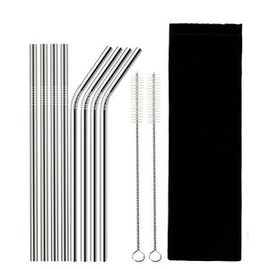 Stainless Steel Reusable Drinking Straw with Cleaning Brush-TrendyVibes.CO
