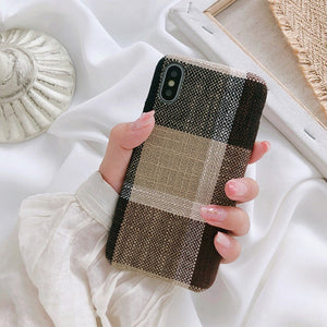 Plaid Fabric iPhone Bumper Case-TrendyVibes.CO
