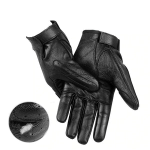 Black Genuine Leather Winter Gloves