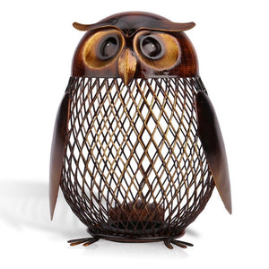 Metal Wise Owl Coin Bank-TrendyVibes.CO
