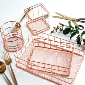 Iron Art Nordic Metal Storage Makeup Organizer - Rose Gold Minimalist Nordic Metal Make-up And Stationery Organizer