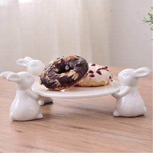 Kitchenware Unique White Rabbit Cake And Snack Plate And Stand - Unique White Rabbit Cake And Snack Plate And Stand