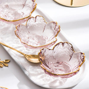 Chic Pink Flower Glass Bowl