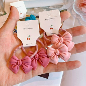 2Pcs Elastic Bowknot Scrunchies Hair Tie For Kids