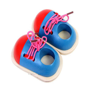 Wooden Lacing Shoes Educational Toys for Kids and Toddlers