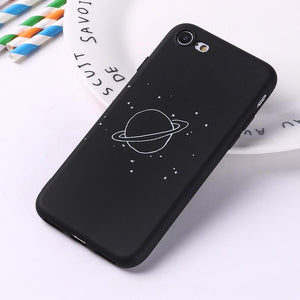 Galaxy And The Stars Black Silicone Matte iPhone Case-TrendyVibes.CO