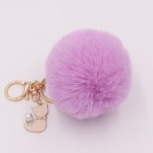 Pompom Fur Ball Cat Keychain - Pompom Fur Ball Cat Keychain