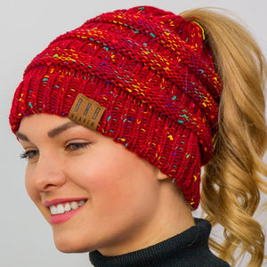Messy Bun Beanie Ponytail Beanie Winter Hat With Hole For Ponytail-TrendyVibes.CO