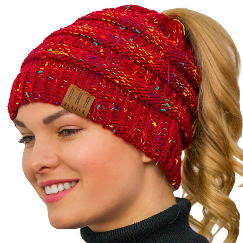 857e50fbe Knitted Winter Ponytail Messy Bun Beanie- Beanie With Ponytail Hole  Ponytail Beanie Messy Bun Hat
