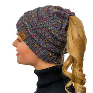 Knitted Winter Ponytail Messy Bun Beanie- Beanie With Ponytail Hole Ponytail Beanie Messy Bun Hat-TrendyVibes.CO