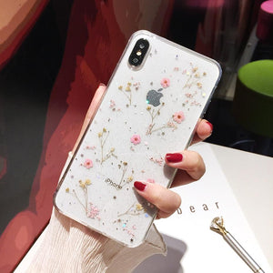 Real Flowers Transparent Soft Phone Case-TrendyVibes.CO