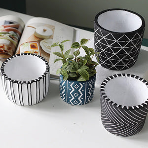 Retro Flower Pots with Creative Patterns