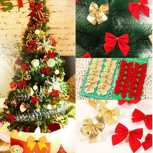 Christmas Tree Festive Ribbon Ornaments Christmas Tree Ribbon- Red with White Edge Tree Topper Bow-TrendyVibes.CO