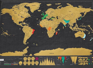 Scratch Off World Map Wall Sticker Poster