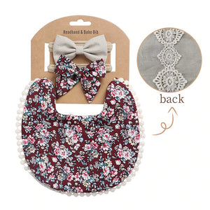 3Pcs Floral Print Baby Bow Headband and Bibs Set