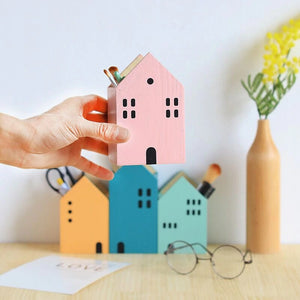 Cute House Shaped Pencil Holder Desk Organizer