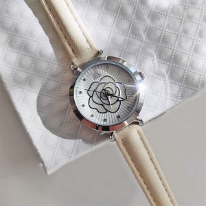Intricate Flower Dial with Leather Strap Quartz Watch