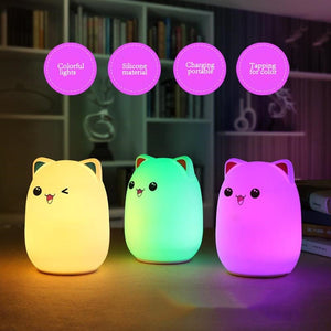 Soft Silicone Colorful Cat LED Night Lamp - Soft Silicone Colorful Cat LED Light Night Lamp