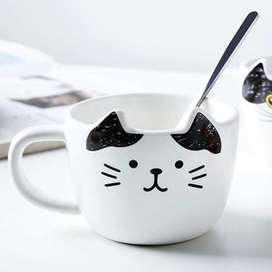 Ceramic Cat Coffee Mug and Cookie Plate Set