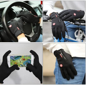 Winter Waterproof Sports Simulated Touchscreen Leather Gloves-TrendyVibes.CO