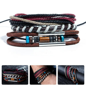 Woven Leather and Rope Bracelet Set