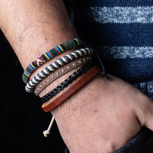 Woven Leather And Rope Bracelet Set - Woven Leather And Rope Bracelet Set