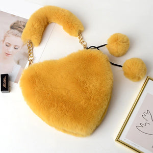 Gorgeous Faux Fur Heart Shape Handbags