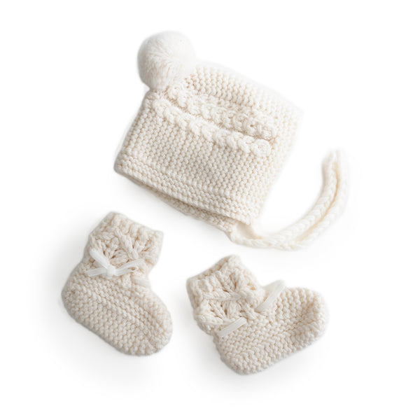 Merino Wool Bonnet & Bootie Set
