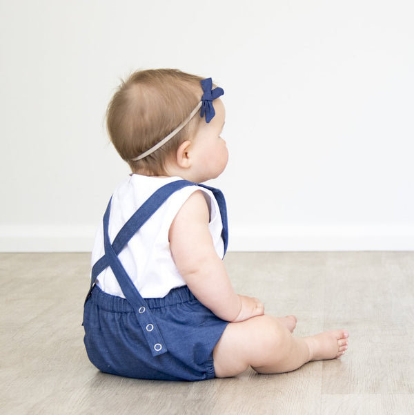 Bow Headband - Pink Stripe