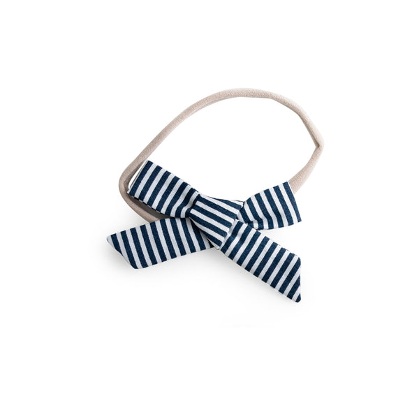 Bow Headband - Navy Stripe