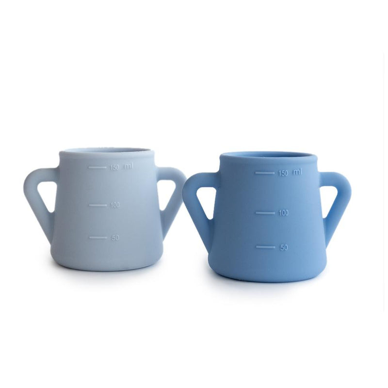 Silicon Sippy Cups - Blue & Grey