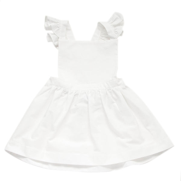 Frill Pinafore Dress - White