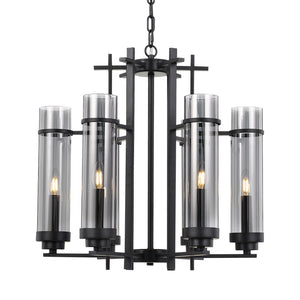 BURGESS 6 Light Pendant Black/Smoke Chain