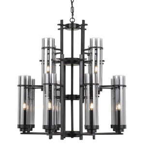 BURGESS 8 Light Pendant Black/Smoke Chain