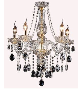 Theresa 5 Light Clear and Gold Candelabra Chandelier - Lights Fans Action