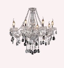 Theresa 8 Light Clear and Chrome Candelabra Chandelier - Lights Fans Action