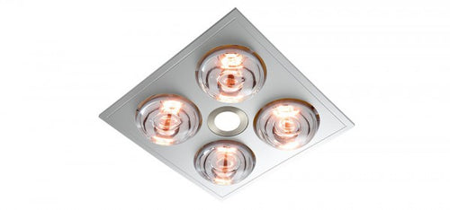 MYKA 4 - Slimline 3 in 1, 4 Heat, 10W LED Downlight and side ducted exhaust - Silver