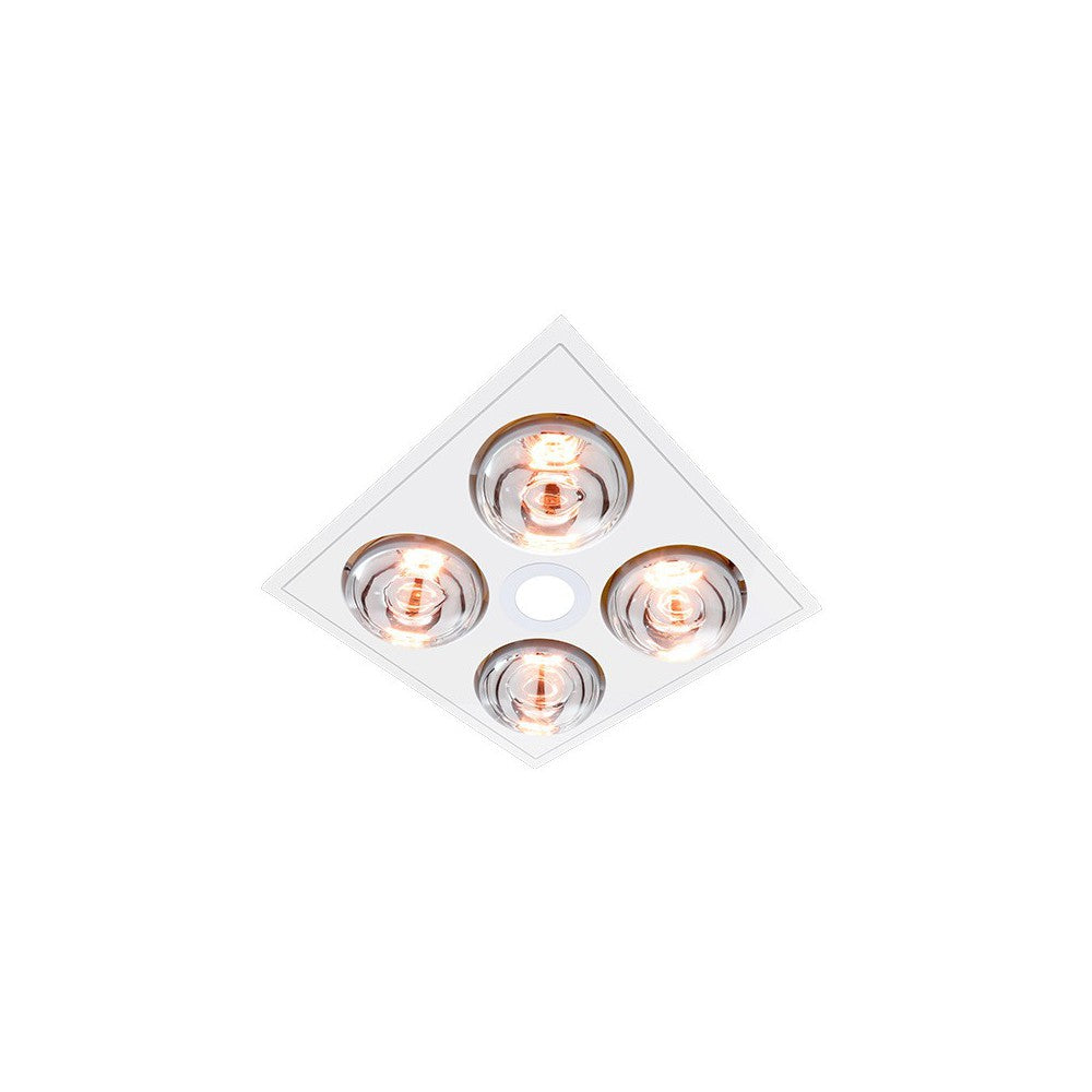 MYKA 4 - Slimline 3 in 1, 4 Heat, 10W LED Downlight and side ducted exhaust - White - Lights Fans Action